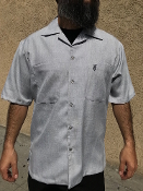 Short Sleeve Double Pocket Emblem Shirt Silver