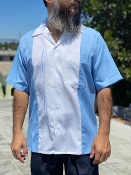 Short Sleeve Single Pocket TwoTone OTR Shirt Blue w/White