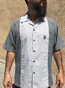 Short Sleeve Single Pocket TwoTone Emblem Shirt Charcoal/Silver