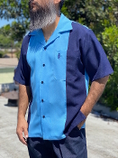 Short Sleeve Single Pocket TwoTone Emblem Shirt Navy/Sky
