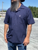 Short Sleeve Single Pocket Emblem Shirt Navy