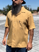 Short Sleeve Single Pocket Emblem Shirt Solid Gold