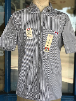 Ben Davis Short Sleeve Half Zip Shirt Hickory Stripe