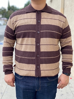 FB County Long Sleeve Button Up Charlie Brown Tan/Brown