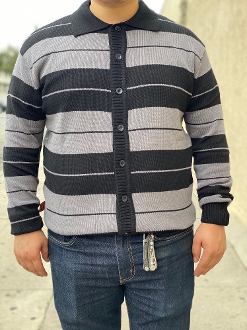 FB County Long Sleeve Button Up Charlie Brown Black/Grey