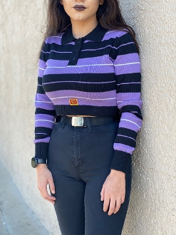 FB County Women's Cropped LS Charlie Brown Black/Lavender