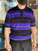 County FB 3 Color Charlie Brown Polo Purple/Black/Gold