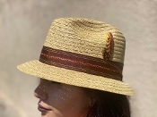 Pinch Front Reg Brim Breathable Straw Hat Tan